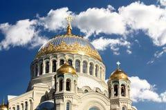 Złote kopuły ortodoksyjna świątynia Obraz Stock