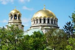 Złote kopuły St Aleksander Nevsky katedra w Sofia zdjęcie royalty free