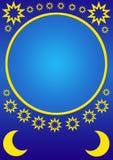 złote księżycu, gwiazdach Obraz Stock