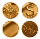 złote monety kartonowe koloru ikony ustawiać oznaczają wektor trzy royalty ilustracja