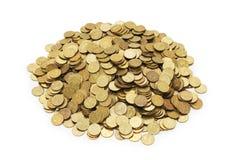 złote monety odizolowane kołek. Obraz Stock