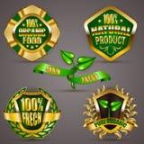 Złote odznaki z laurowym wiankiem Zdjęcie Royalty Free