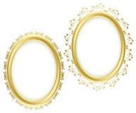 Złote piękne dekoracyjne ramy - set Fotografia Royalty Free