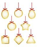 Złote prezent etykietki lub metki kolekcja Zdjęcia Royalty Free