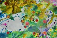 Złote purpury malują strukturę, farby abstrakcjonistyczny kreatywnie tło Obrazy Royalty Free