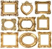 Złote ramy bez cieni odizolowywających na białym tle Zdjęcia Royalty Free