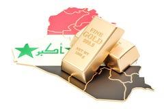 Złote rezerwy Iracki pojęcie, 3D rendering Zdjęcie Royalty Free