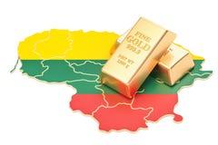 Złote rezerwy Lithuania pojęcie, 3D rendering Zdjęcia Stock