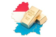 Złote rezerwy Luksemburg pojęcie, 3D rendering Zdjęcie Royalty Free