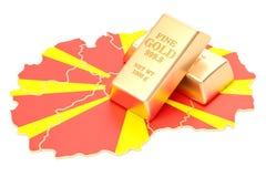 Złote rezerwy Macedonia pojęcie, 3D rendering Zdjęcia Stock