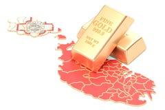Złote rezerwy Malta pojęcie, 3D rendering Obraz Stock
