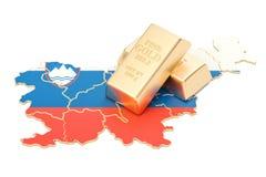 Złote rezerwy Slovenia pojęcie, 3D rendering Fotografia Royalty Free