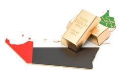 Złote rezerwy UAE pojęcie, 3D rendering Obrazy Royalty Free