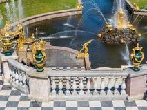 Złote statuy i fontanny w Peterhof pałac Fotografia Royalty Free