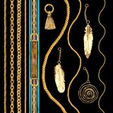 Złotego łańcuchu splendoru bezszwowa deseniowa ilustracja Akwareli tekstura z złotymi łańcuchami zdjęcia stock