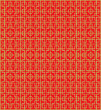 Złotego bezszwowego Chińskiego nadokiennego maswerku kwadrata geometrii wzoru round tło Obraz Royalty Free