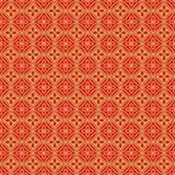 Złotego bezszwowego Chińskiego nadokiennego maswerku wieloboka kwiatu wzoru round tło Obrazy Stock