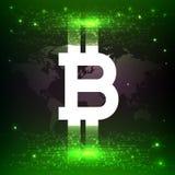 Złotego bitcoin cyfrowa waluta, futurystyczny cyfrowy pieniądze, technologii na całym świecie sieci pojęcie, wektorowa ilustracja Zdjęcia Royalty Free