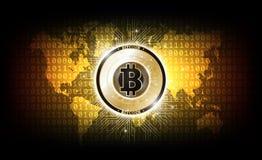 Złotego bitcoin cyfrowa waluta, futurystyczny cyfrowy pieniądze, technologii na całym świecie sieci pojęcie, wektorowa ilustracja ilustracji