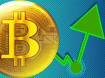 Złotego bitcoin pieniężnego rynku papierów wartościowych wzrostowe mapy z zielenią a ilustracja wektor