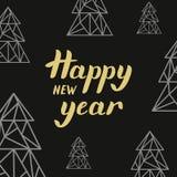 Złotego literowania Szczęśliwy nowy rok i trójboków jedlinowi drzewa Zdjęcie Stock