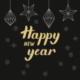 Złotego literowania Szczęśliwy nowy rok i trójboków jedlinowi drzewa Obraz Stock