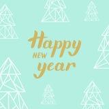 Złotego literowania Szczęśliwy nowy rok i trójboków jedlinowi drzewa na turquo Obraz Stock