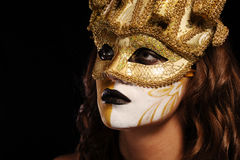 złotego maski przyjęcia seksowna kobieta Fotografia Royalty Free