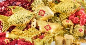 Złotego materiału Chińska dekoracja dla chińskiego nowego roku Zdjęcie Stock