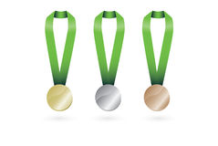 Złotego Medalu srebrnego medalu brązowego medalu set ilustracji
