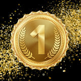 Złotego Medalu wektor 1st miejsca osiągnięcie Zwycięzca, mistrz, liczba Jeden Gałązka Oliwna realistyczna ballons ilustracja ilustracji