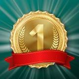 Złotego Medalu wektor Złota 1st miejsce odznaka Kruszcowa zwycięzca nagroda czerwone wstążki Gałązka Oliwna realistyczna ballons  ilustracji