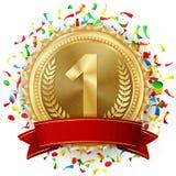 Złotego Medalu wektor Złoty 1st miejsce Turniejowa wyzwanie nagroda Spada Jaskrawi confetti czerwone wstążki oliwka royalty ilustracja