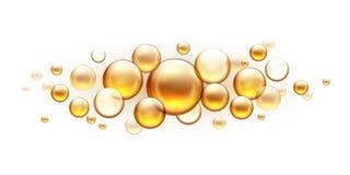 Złotego oleju bąble Kosmetyczny kolagenu serum, rycynowej argan jojoba esencji wektorowy realistyczny szablon odizolowywający  ilustracji