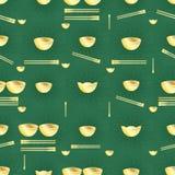 Złotego pieniądze pucharu chopstick bezszwowy wzór Fotografia Royalty Free