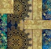 Złotego rocznika kwiecisty projekt na błękitnym tle ilustracji