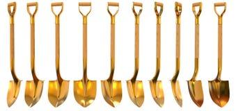 Złotej łopaty ustalona foreshortening 3d ilustracja Zdjęcia Stock