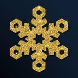 Złotej błyskotliwości cudowny płatek śniegu Zdjęcia Stock