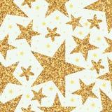 Złotej błyskotliwości gwiazdy bezszwowy wzór royalty ilustracja