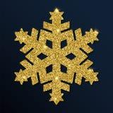 Złotej błyskotliwości oszałamiająco płatek śniegu Obraz Royalty Free