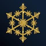 Złotej błyskotliwości przyjemny płatek śniegu ilustracja wektor