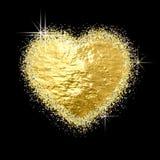 Złotej błyszczącej błyskotliwości kierowy kształt na czerni Obraz Royalty Free