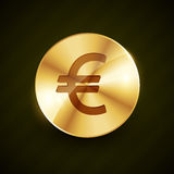 Złotej euro symbol monety błyszczący wektor Zdjęcie Stock