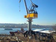 Złotej róg stoczni Dźwigowy statek Istanbuł zdjęcia royalty free