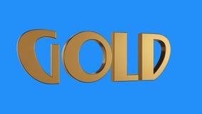 Złotej złocistej słowo przędzalnianej animaci bezszwowa pętla na błękitnym tle - nowej ilości unikalny pieniężny biznes animujący royalty ilustracja