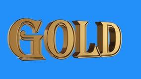 Złotej złocistej słowo przędzalnianej animaci bezszwowa pętla na błękitnym tle - nowej ilości unikalny pieniężny biznes animujący ilustracji