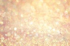 Złoto łuny błyskotliwości tło Elegancki abstrakcjonistyczny tło z bokeh Obraz Stock