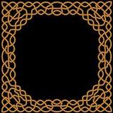Złoto, żółty ornament na czarnym tle w celcie i język arabski, Obraz Royalty Free