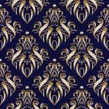 Złoto adamaszkowy kwiecisty bezszwowy wzór z ręka rysującymi ornamentami Obrazy Royalty Free