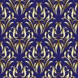 Złoto Adamaszkowy kwiecisty wektorowy bezszwowy wzór Ornamentacyjny elegancja zmrok - błękitny tło Złoty rocznik kwitnie, liście, ilustracji
